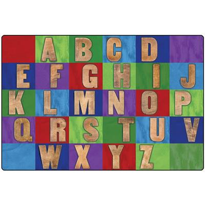 Rustic Wood Literacy Rug, 8' x 12', Rectangle